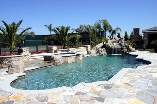 rock swimming pool with pre cast coping rock waterfall swimming pool - Swimming Pools With Waterfalls And Slide