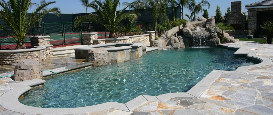 Concrete Coping Free Formed Shape Inground Gunite Pool Built In Los Angeles